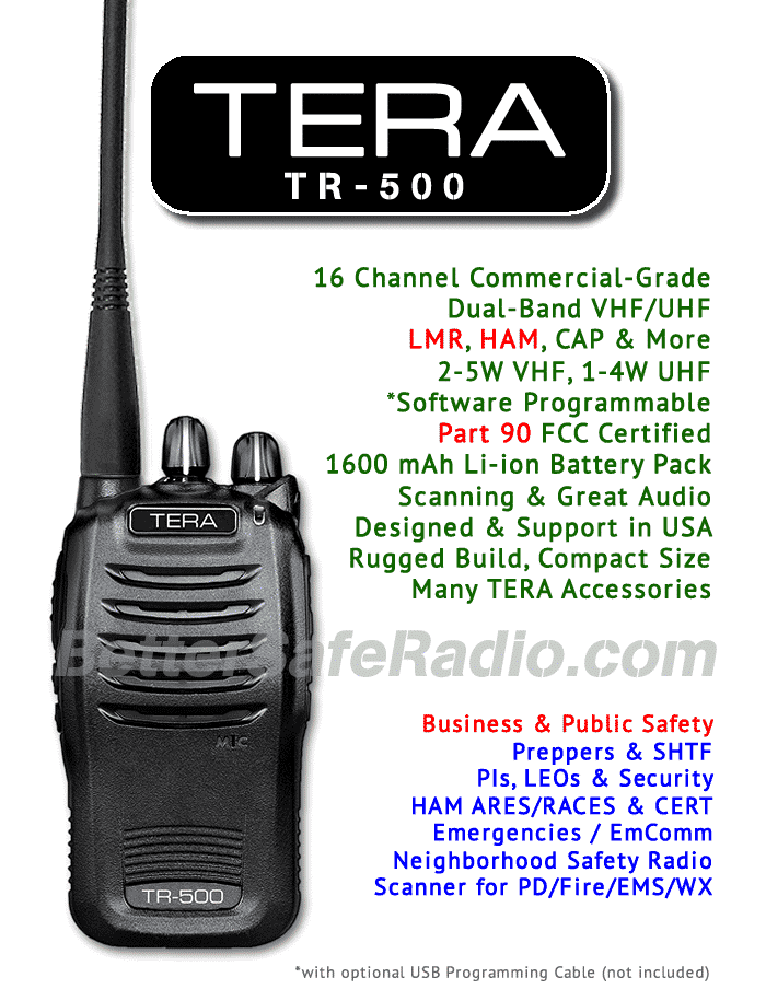 TERA TR-500 Commercial Ham Two-Way Handheld Radio - Assembled Specs