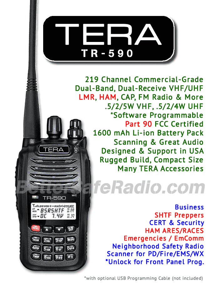 TERA TR-590 Commercial Ham Two-Way Handheld Radio - Assembled Specs