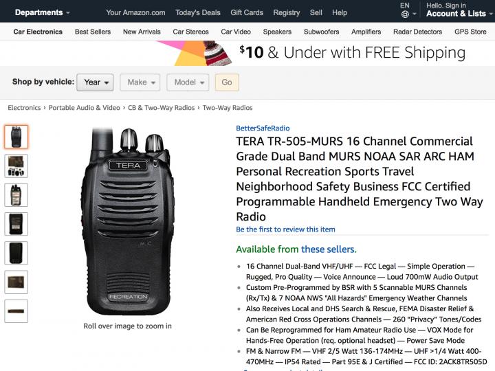 The BetterSafeRadio TERA TR-505-MURS is Now on Amazon!