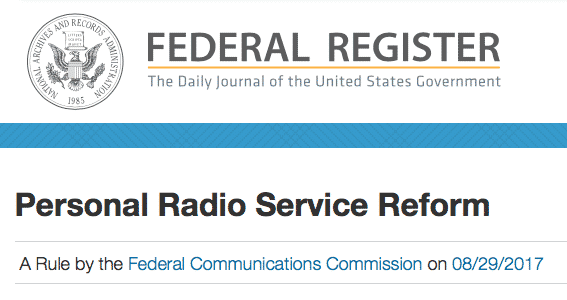 Part 95 FCC PRS Public Radio Service (GMRS, FRS, MURS, CBRS) Changes Published