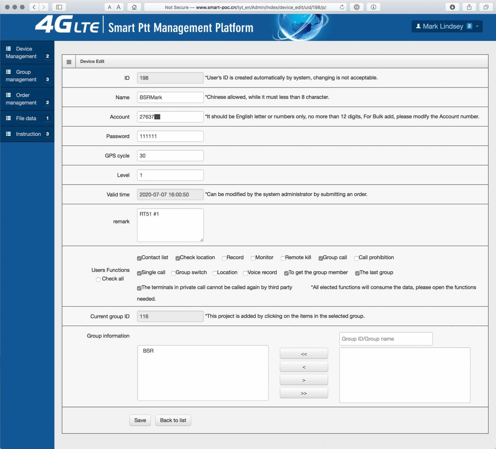 A screenshot of the Smart Ptt Management Platform's Modify Device page