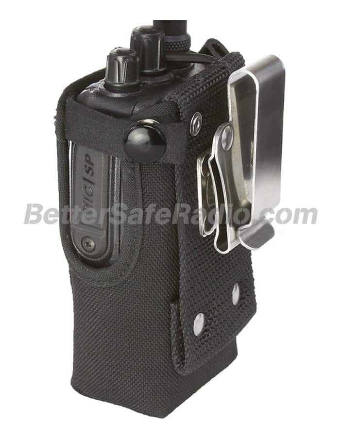 Powerwerx CSC-9 Heavy Duty Nylon Windowed Radio Case with Stainless Swivel Belt Clip - Back