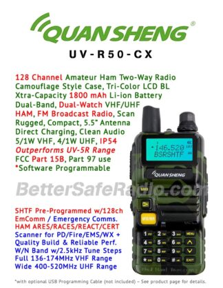 QuanSheng UV-R50-CX Amateur Ham Two-Way Radio - Features Flyer