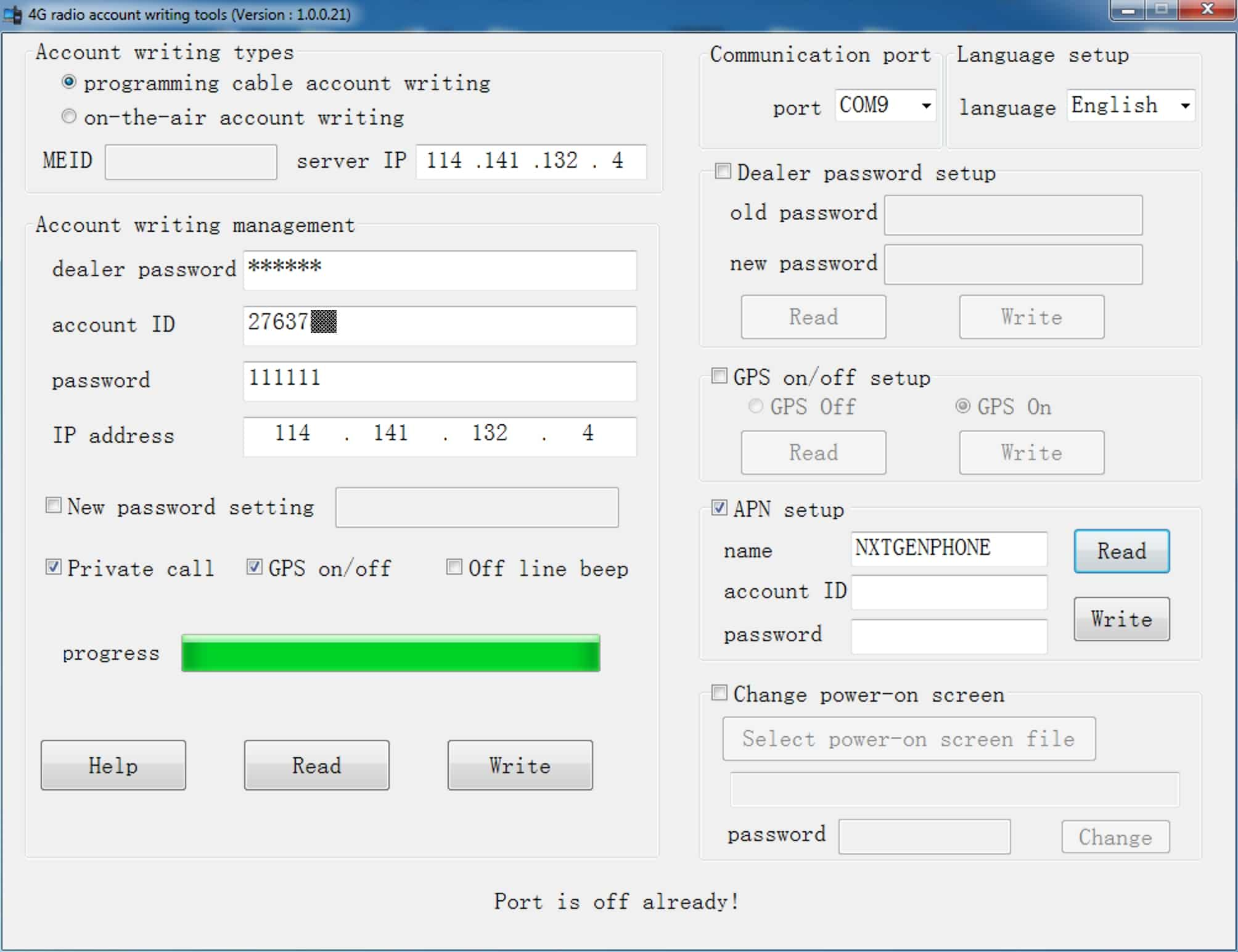 A screenshot of the RT51 Tools programming software window