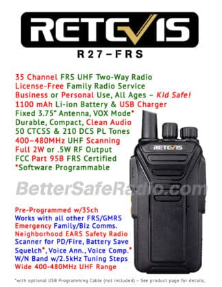 Product flyer for the Retevis RT27 FRS Personal Business License-Free UHF Two-Way Radio