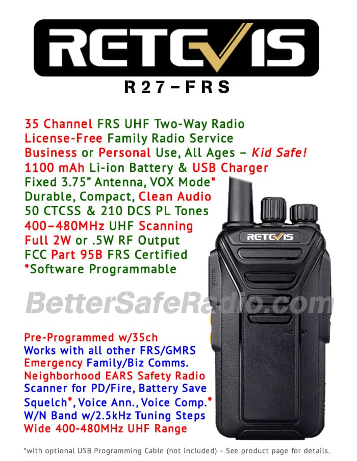Retevis RT27 FRS Personal Business License-Free UHF Two-Way Radio - Features Flyer