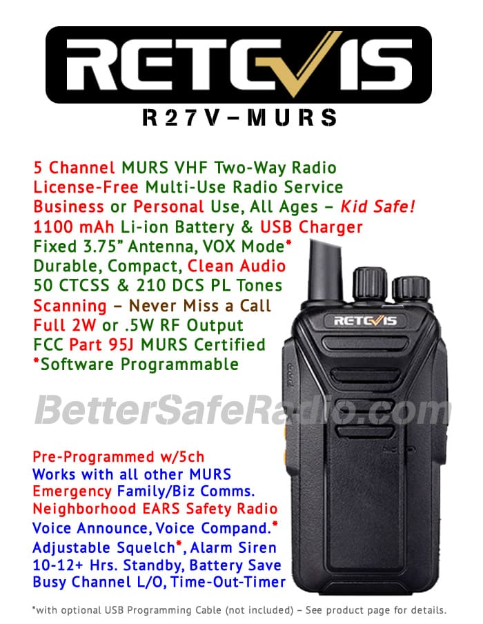 Retevis RT27V MURS Personal Business License-Free Two-Way Radio - Features Flyer