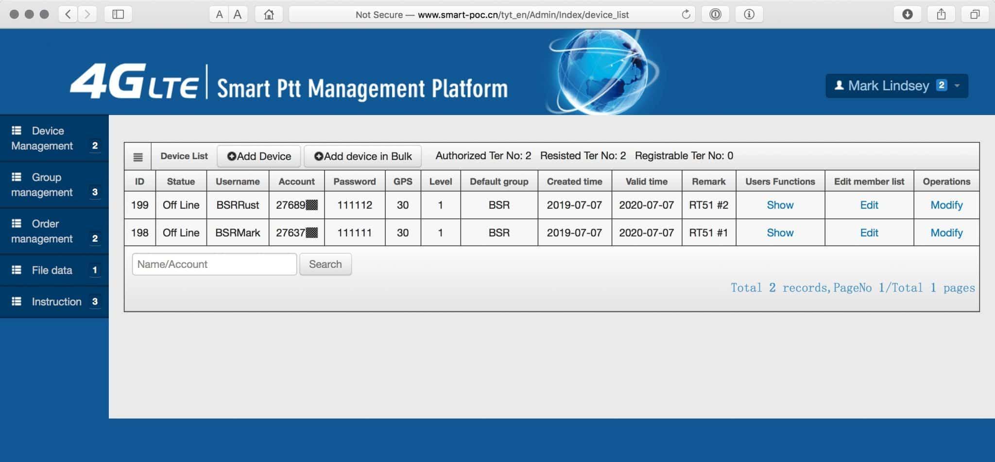 A screenshot of the Smart Ptt Management Platform's Devices list