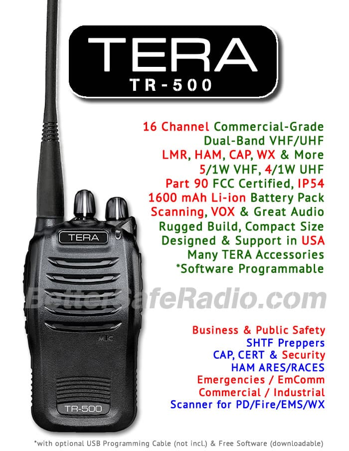TERA TR-500 Commercial Ham Two-Way Radio - Assembled Specs