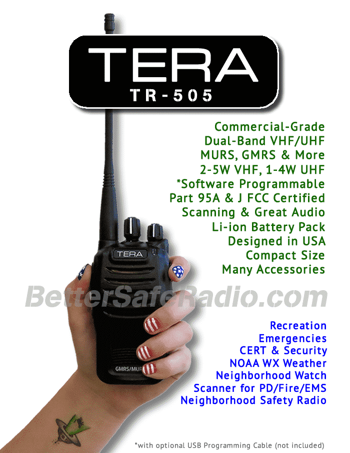 TERA TR-505 GMRS-MURS Two-Way Radio - Assembled Flag Specs