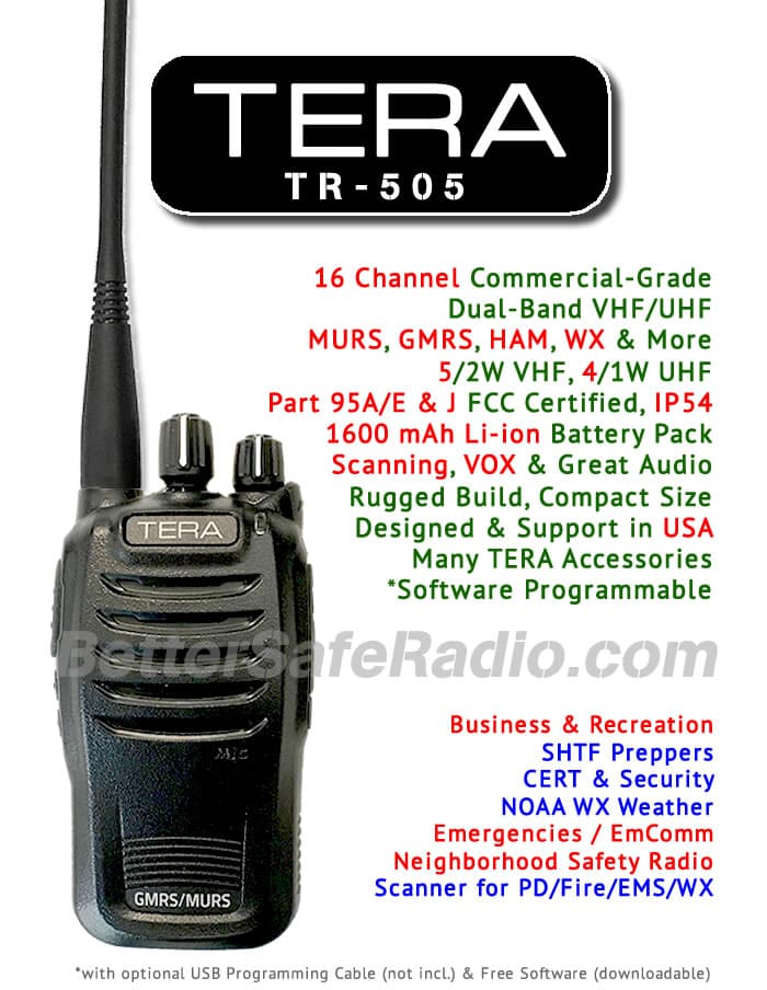 TERA TR-505 GMRS-MURS Two-Way Radio - Assembled Specs