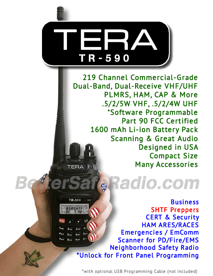 TERA TR-590 Commercial Ham Two-Way Handheld Radio - Specs