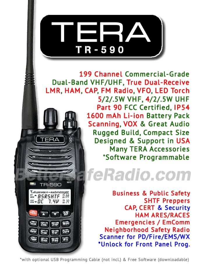 TERA TR-590 Commercial Ham Two-Way Radio - Assembled Specs