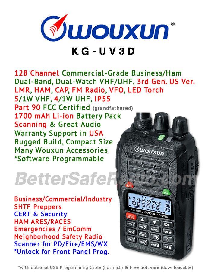 Wouxun KG-UV3D Commercial Ham Two-Way Radio - Assembled Specs