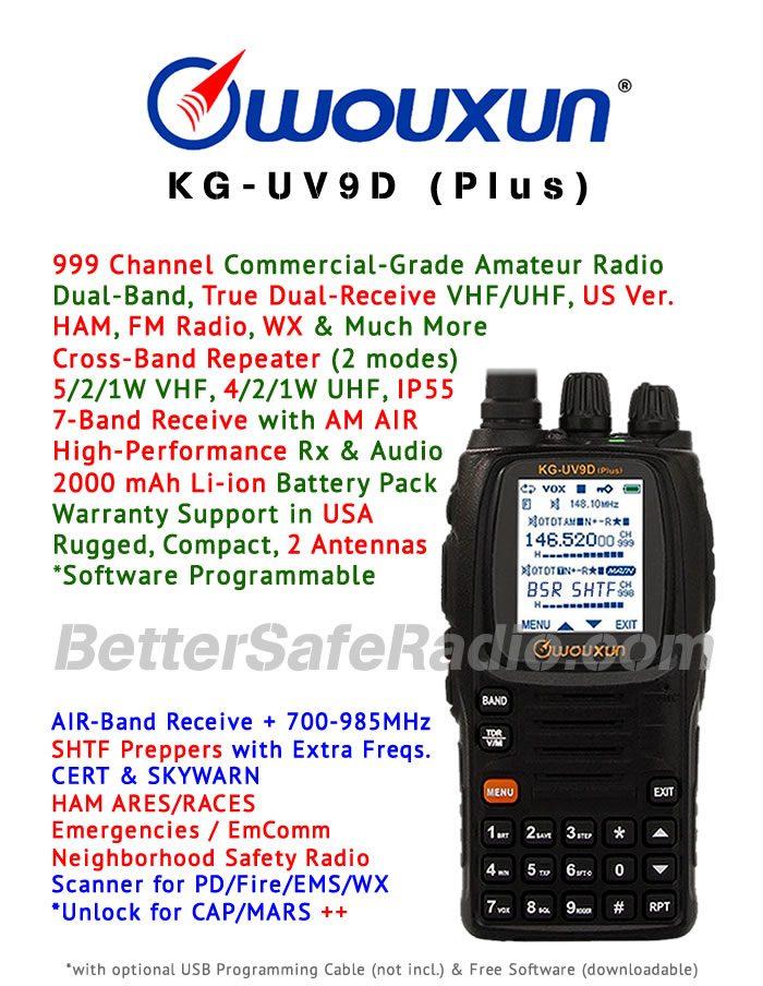 Wouxun KG-UV9D (Plus) Emergency Amateur Ham Two-Way Radio - Assembled Specs