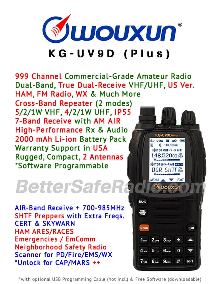 Wouxun KG-UV9D (Plus) Emergency Amateur Ham Two-Way Radio - Assembled Specs