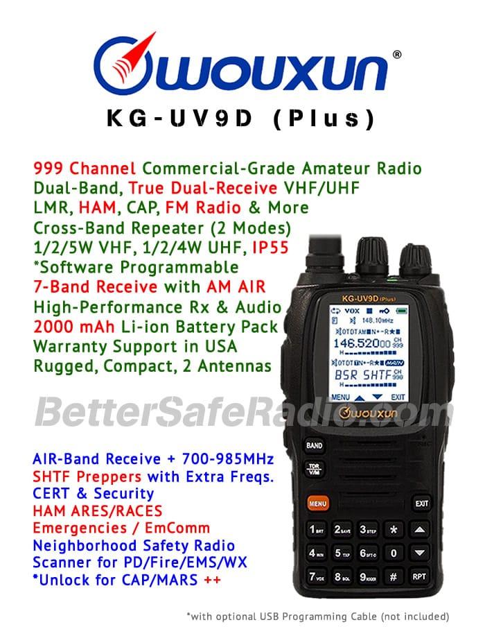 Wouxun KG-UV9D (Plus) Emergency Ham Two-Way Radio - Assembled Specs